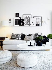 Living room design scandinav alb-negru